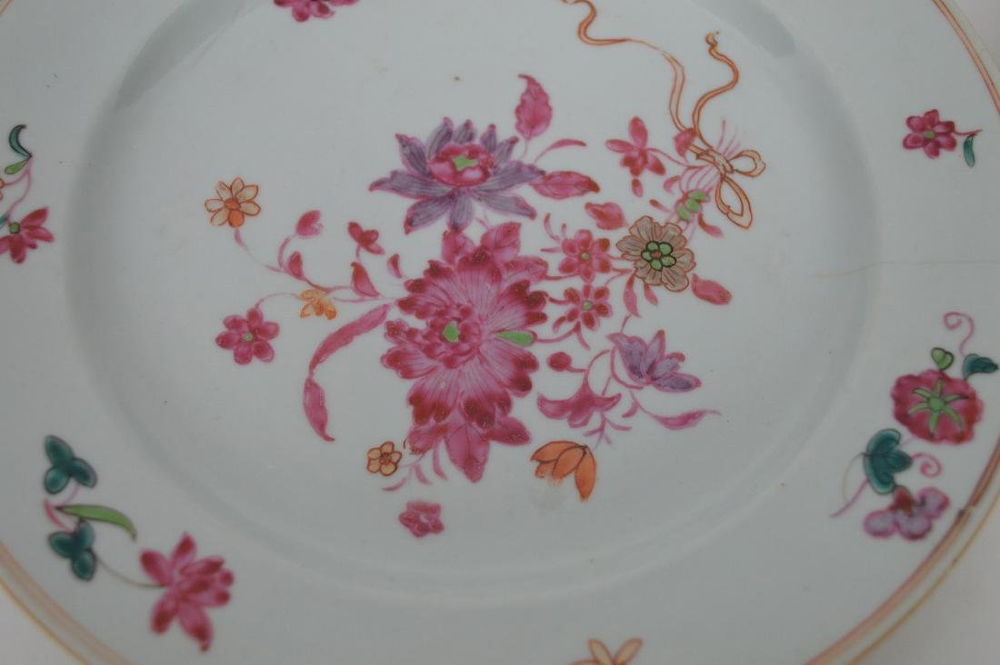 4 Chinese Export Porcelain Plates.  Each with hand - 7