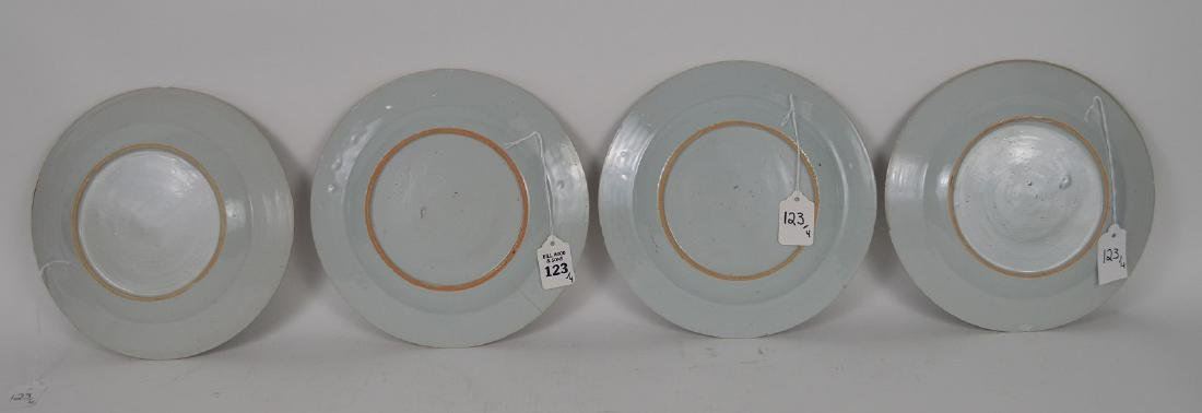 4 Chinese Export Porcelain Plates.  Each with hand - 9