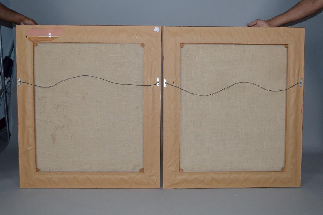 Pair of 18th Century Continental Port Scenes, canvas - 10