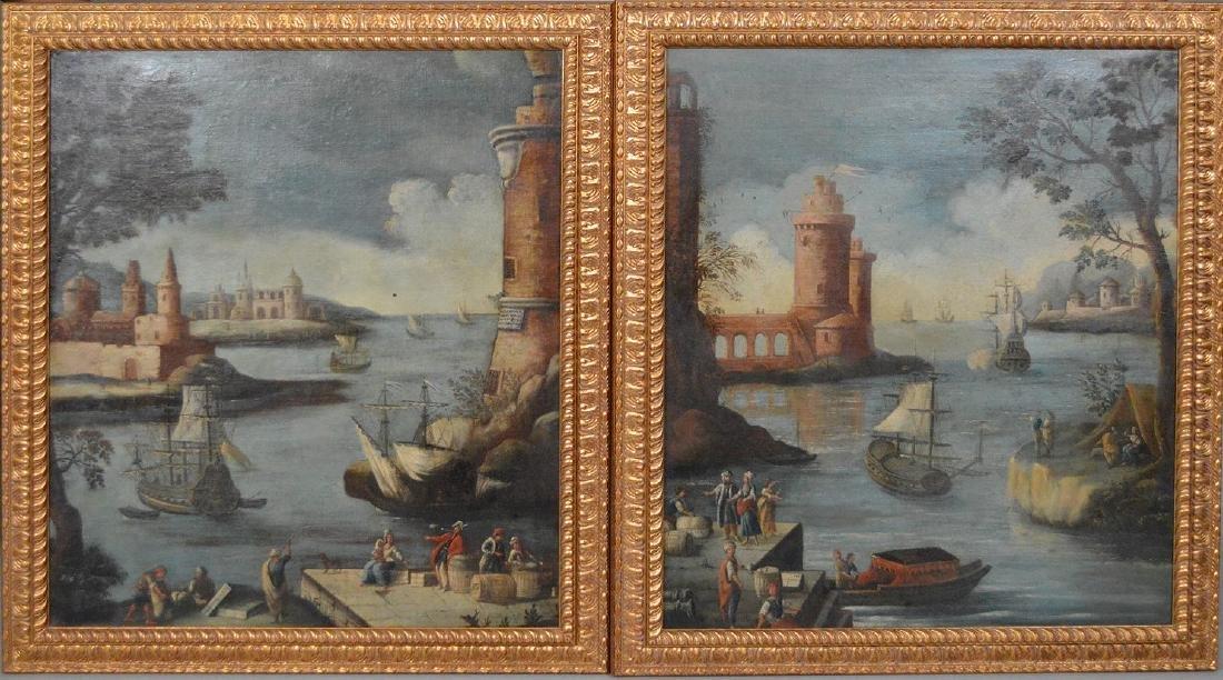 Pair of 18th Century Continental Port Scenes, canvas