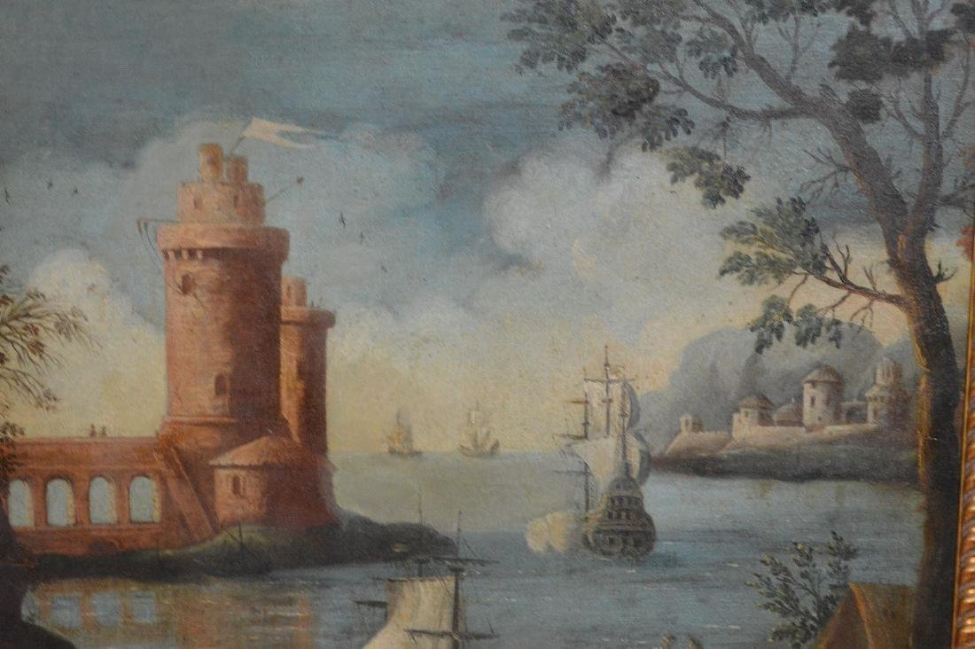 Pair of 18th Century Continental Port Scenes, canvas - 2