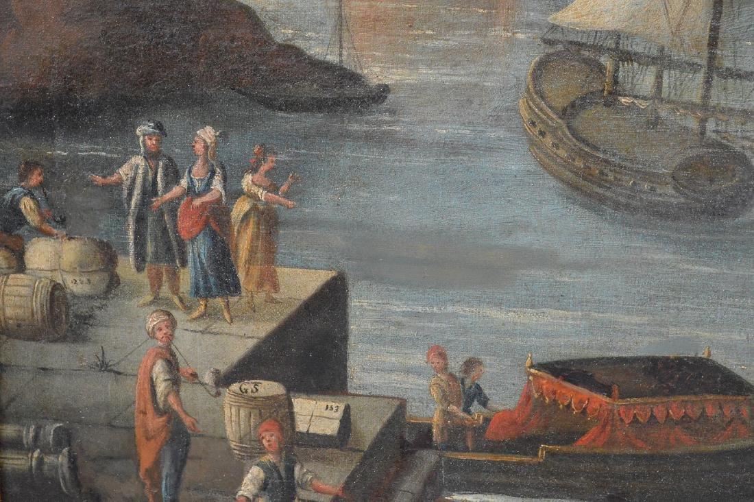 Pair of 18th Century Continental Port Scenes, canvas - 3
