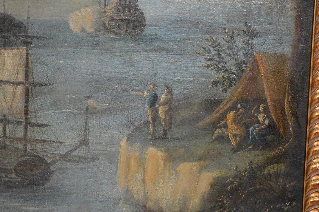 Pair of 18th Century Continental Port Scenes, canvas - 4