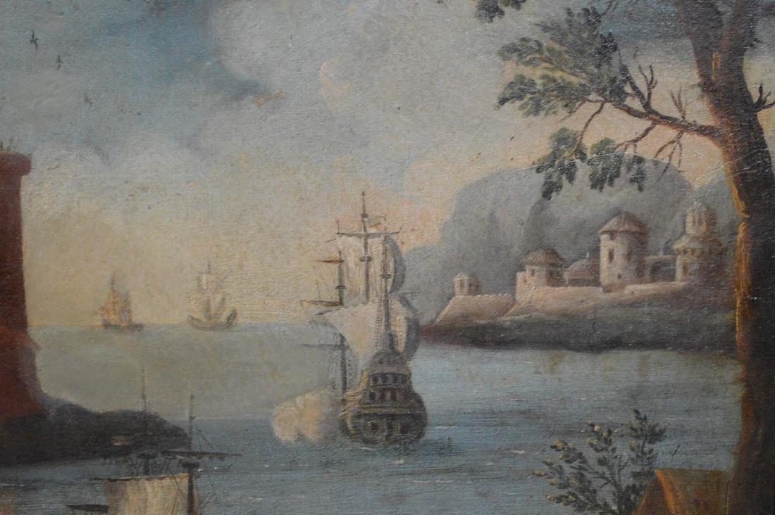 Pair of 18th Century Continental Port Scenes, canvas - 5