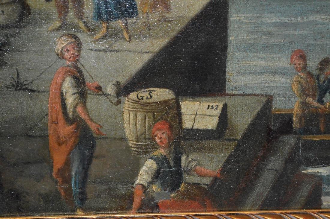 Pair of 18th Century Continental Port Scenes, canvas - 6