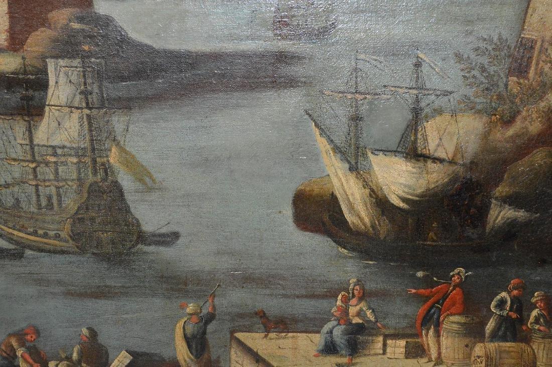 Pair of 18th Century Continental Port Scenes, canvas - 7