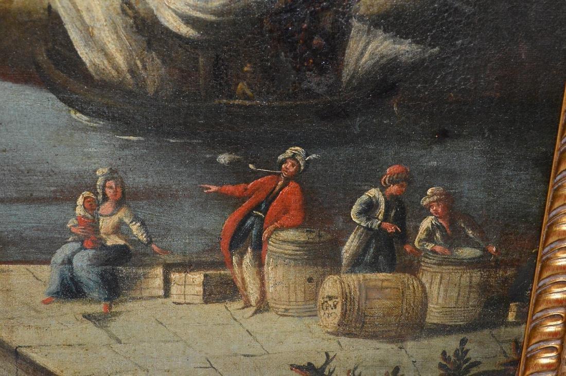 Pair of 18th Century Continental Port Scenes, canvas - 8