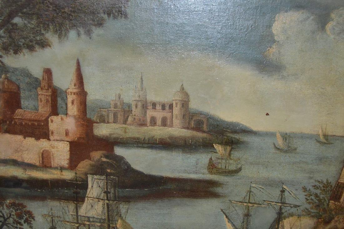 Pair of 18th Century Continental Port Scenes, canvas - 9