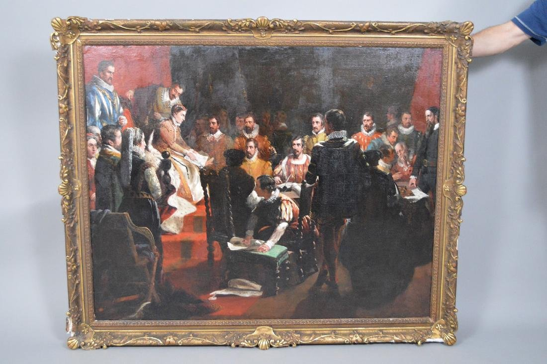 19th Century oil on canvas, signed Bromley ? Queen