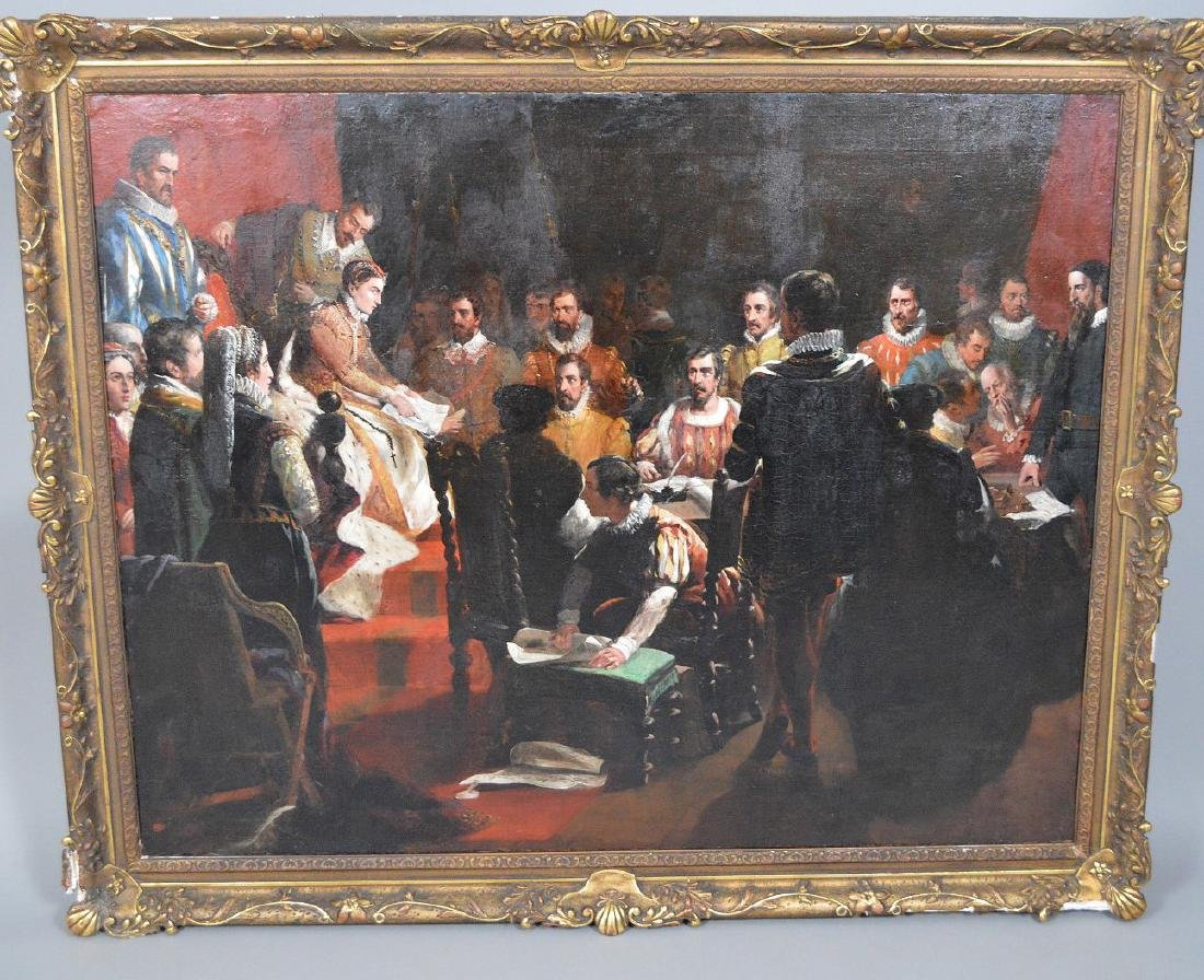 19th Century oil on canvas, signed Bromley ? Queen - 2