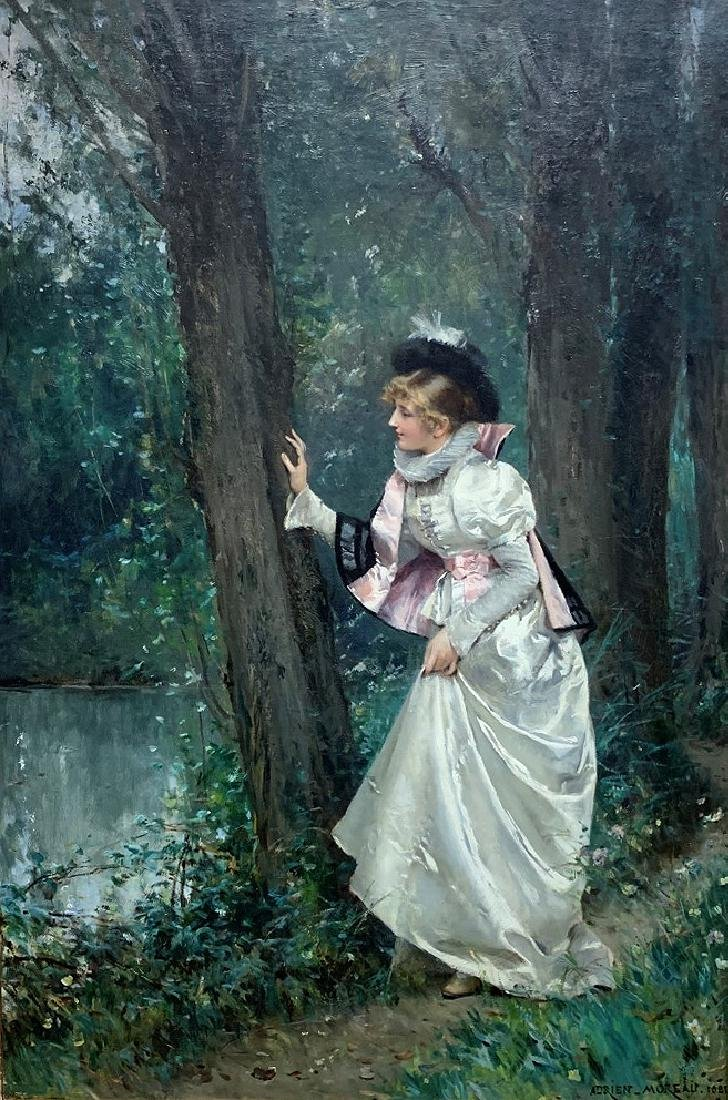 """Adrien Moreau (French, 1843-1906), Oil on canvas, """"Lady - 2"""