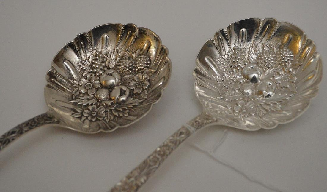 (2) S. Kirk & Sons Sterling Berry Spoons, Repousse - 2