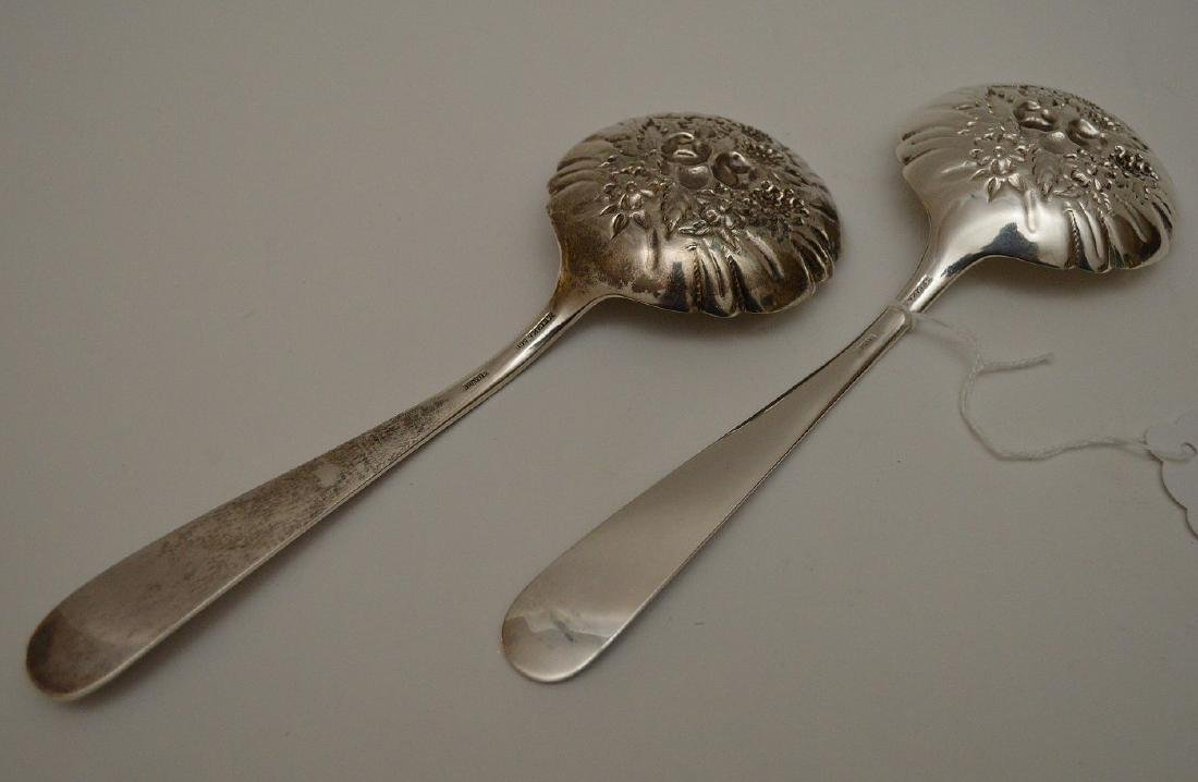 (2) S. Kirk & Sons Sterling Berry Spoons, Repousse - 3