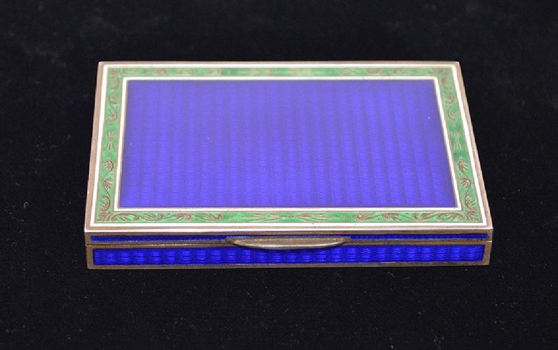 Enamel on silver cigarette box, blue guilloche field