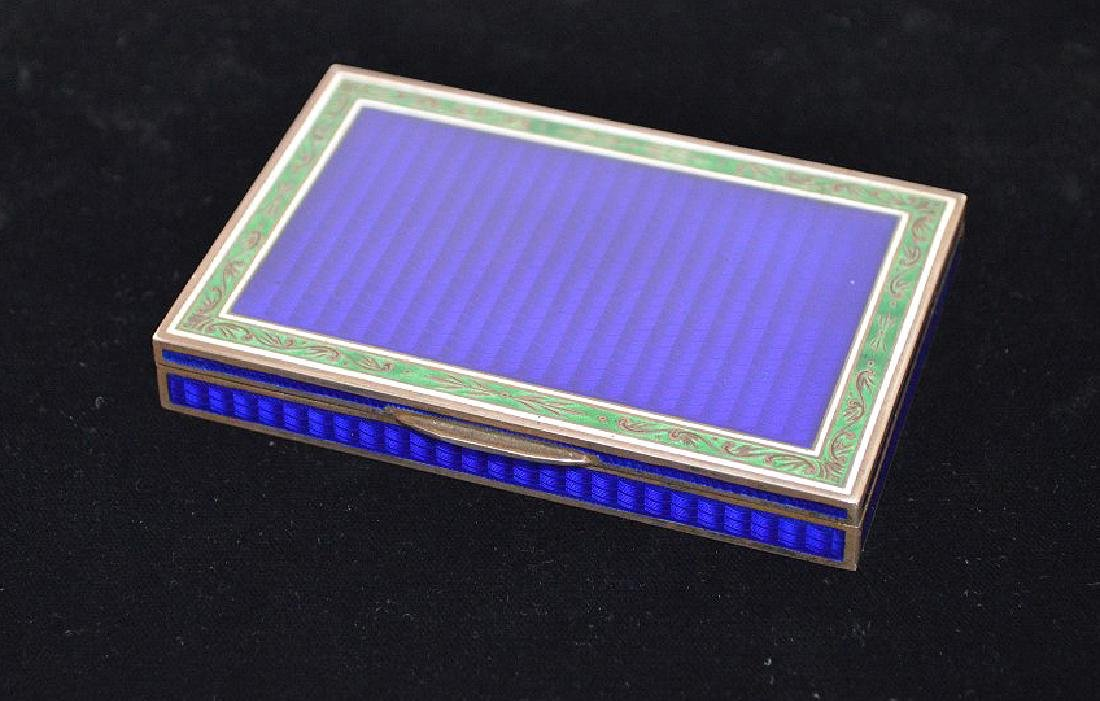 Enamel on silver cigarette box, blue guilloche field - 2