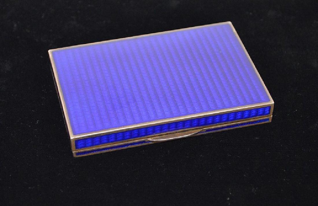 Enamel on silver cigarette box, blue guilloche field - 3