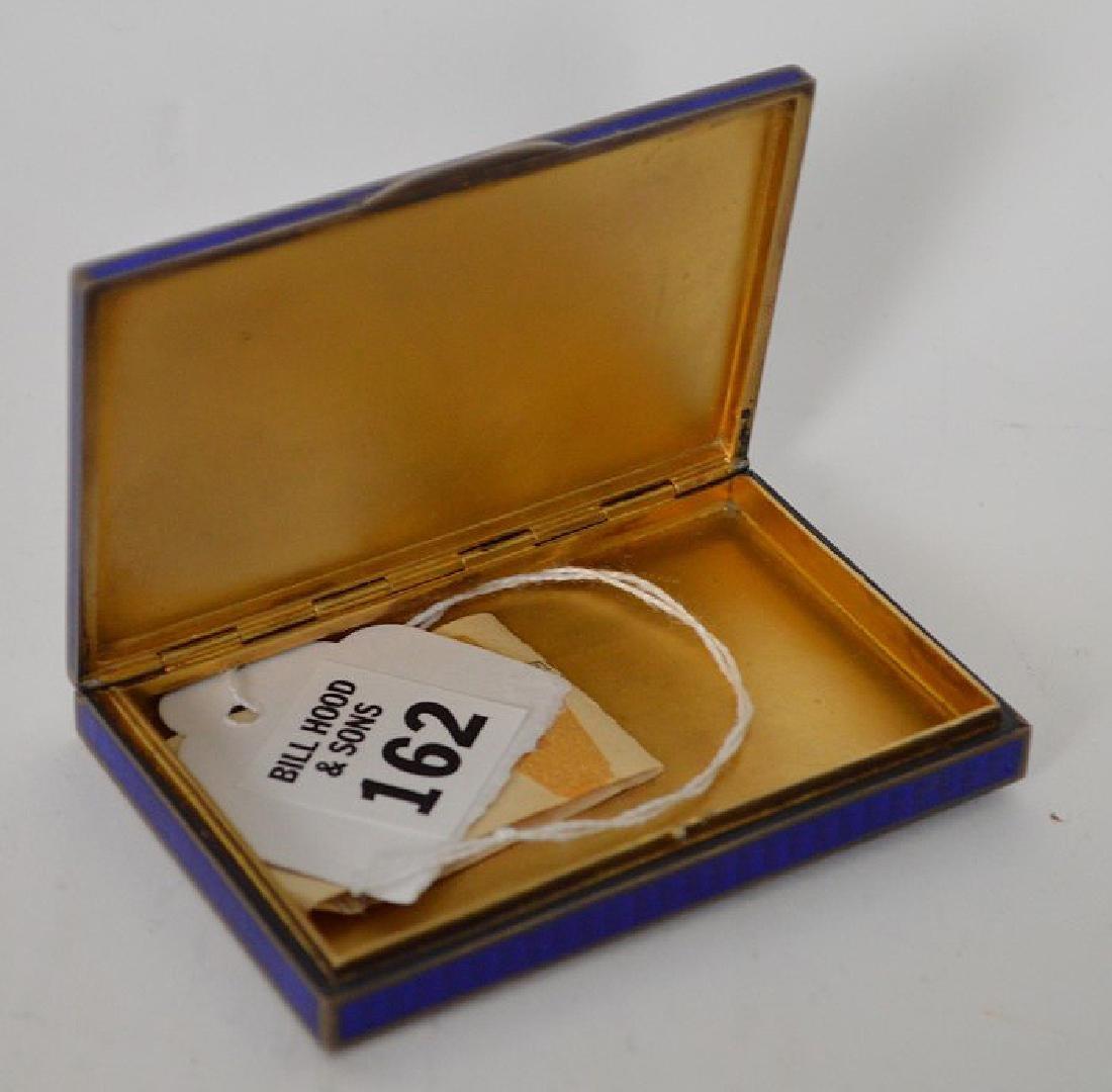 Enamel on silver cigarette box, blue guilloche field - 4