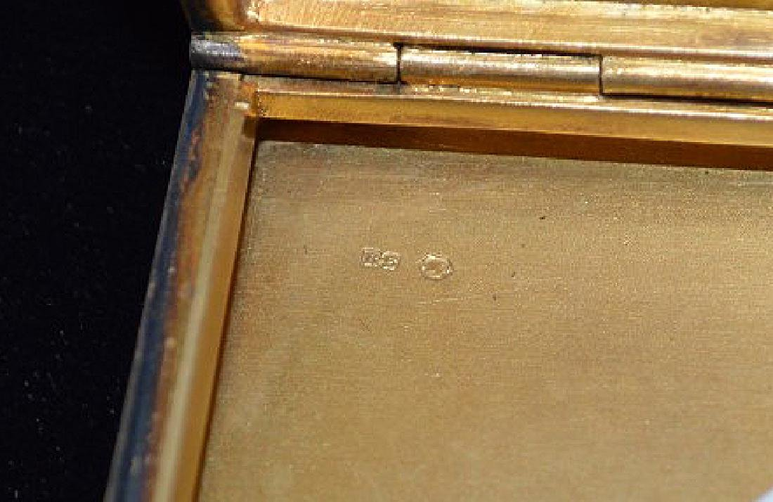 Enamel on silver cigarette box, blue guilloche field - 6
