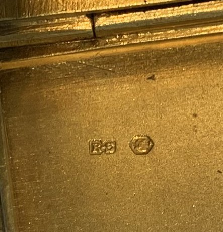 Enamel on silver cigarette box, blue guilloche field - 7