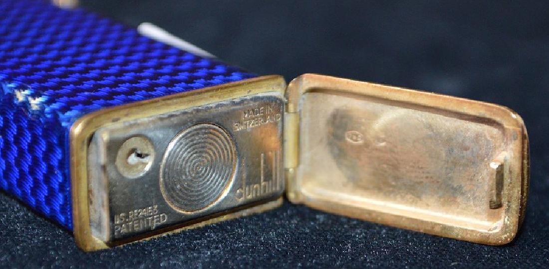 Dunhill blue enamel cigarette lighter, with 14K Gold - 10