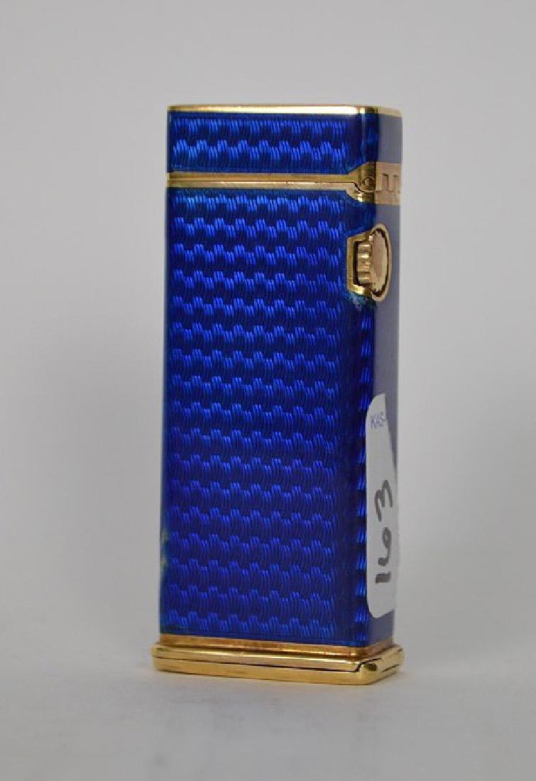 Dunhill blue enamel cigarette lighter, with 14K Gold