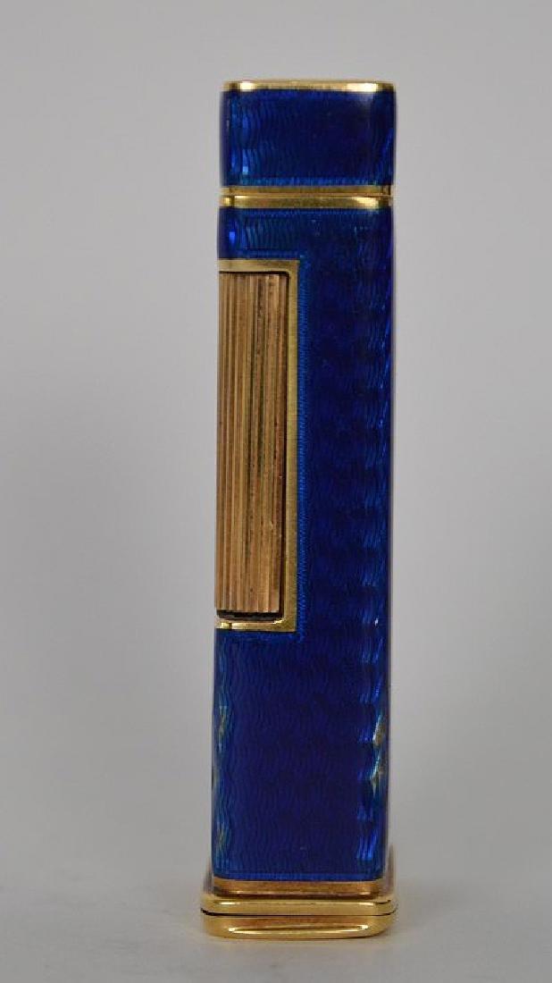 Dunhill blue enamel cigarette lighter, with 14K Gold - 2