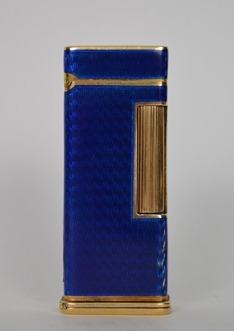 Dunhill blue enamel cigarette lighter, with 14K Gold - 3