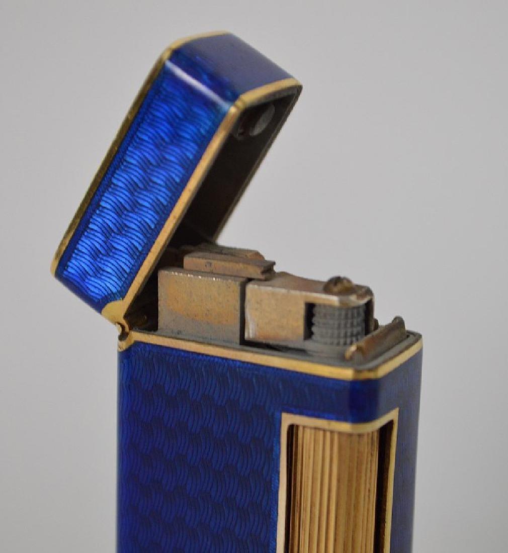 Dunhill blue enamel cigarette lighter, with 14K Gold - 5