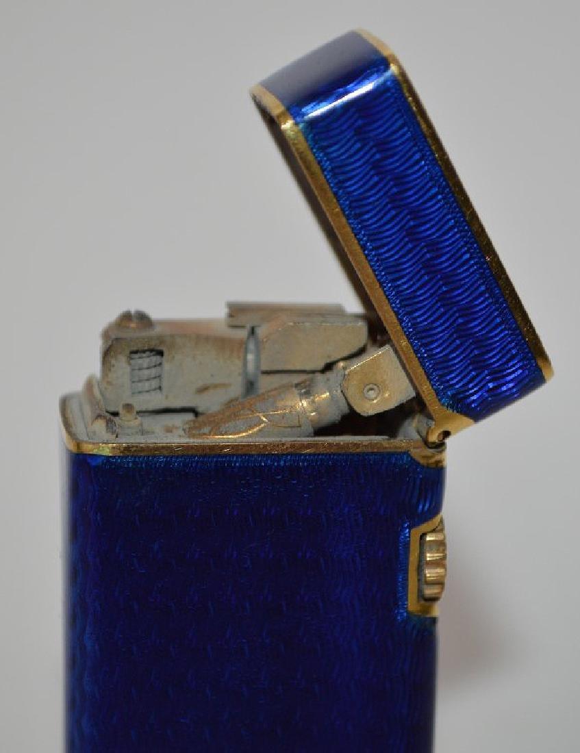 Dunhill blue enamel cigarette lighter, with 14K Gold - 6