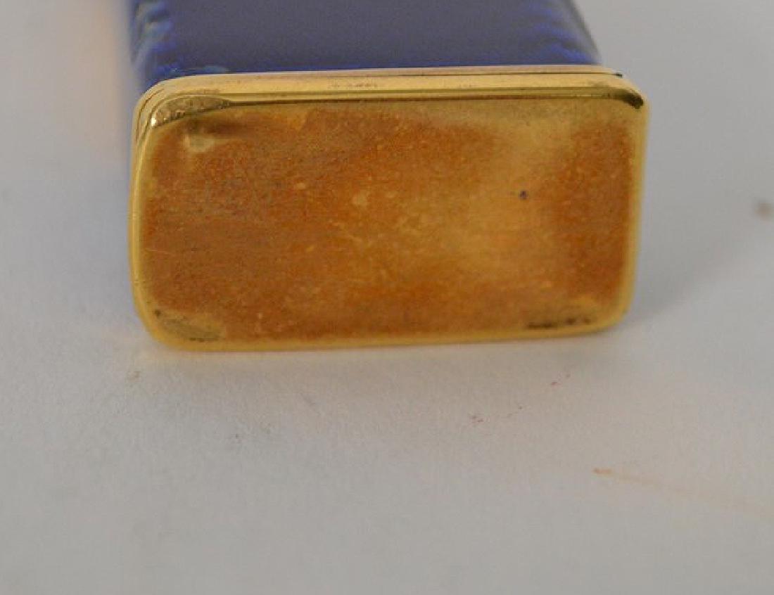 Dunhill blue enamel cigarette lighter, with 14K Gold - 7