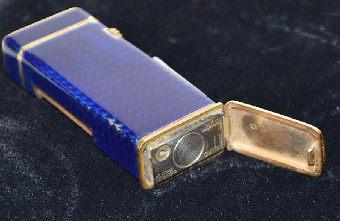 Dunhill blue enamel cigarette lighter, with 14K Gold - 9