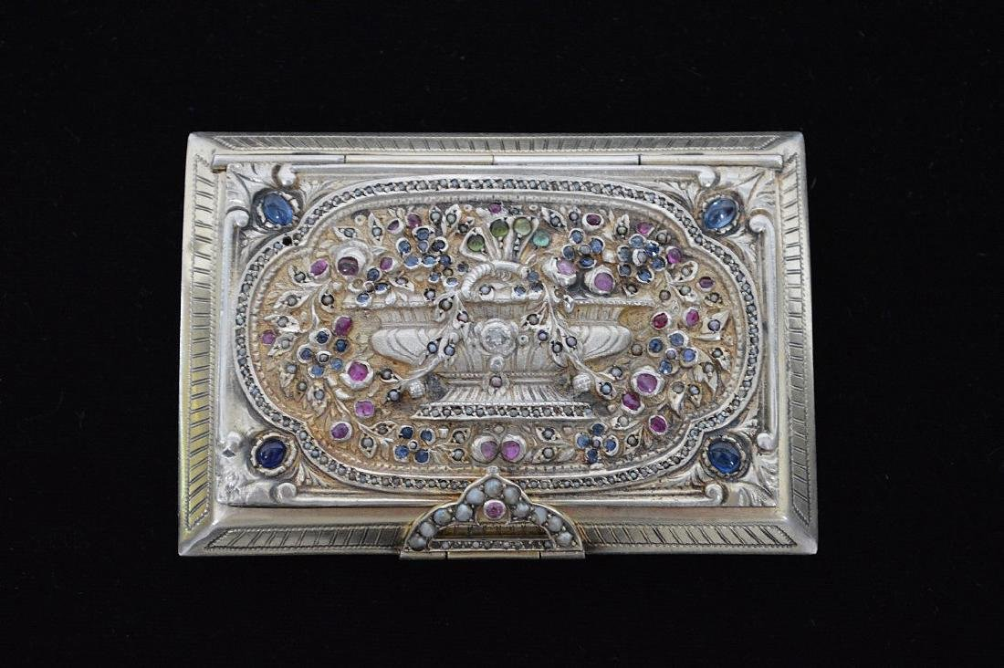 Fine antique jeweled Italian silver Minaudiere/case