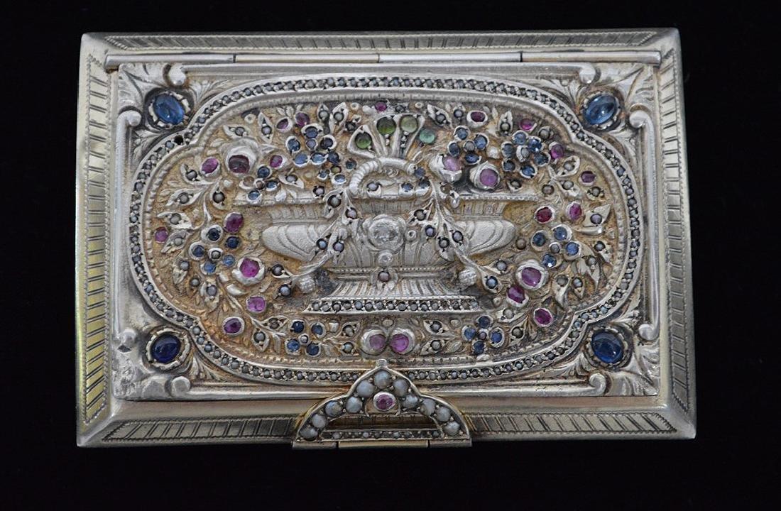 Fine antique jeweled Italian silver Minaudiere/case - 2