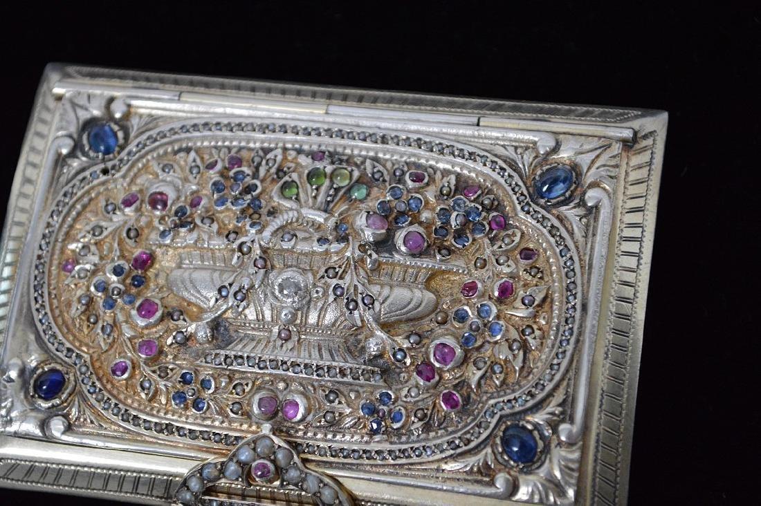 Fine antique jeweled Italian silver Minaudiere/case - 3