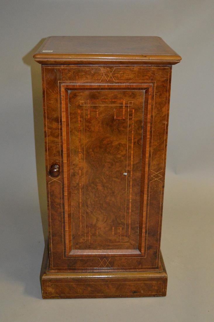 19th Century burled mahogany cabinet with string inlay,