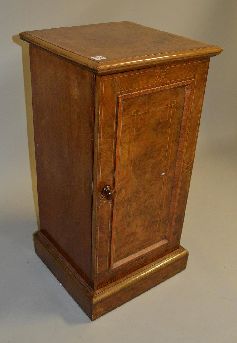19th Century burled mahogany cabinet with string inlay, - 2
