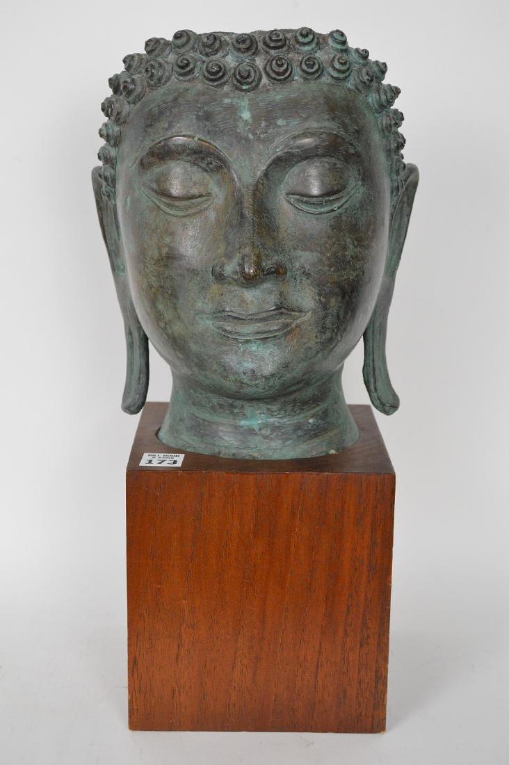 """Verdigris Metal Asian Mask Mounted on Wooden Base; 17""""H"""