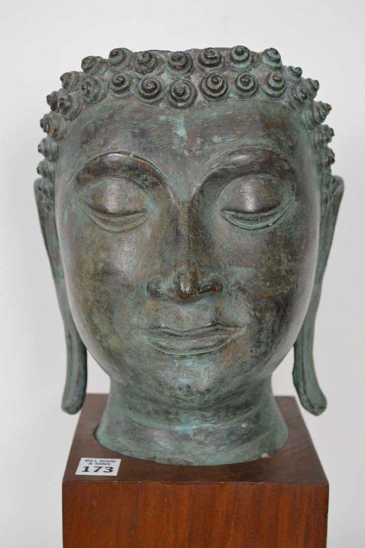 """Verdigris Metal Asian Mask Mounted on Wooden Base; 17""""H - 2"""