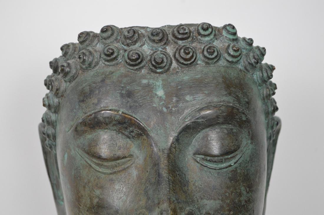"""Verdigris Metal Asian Mask Mounted on Wooden Base; 17""""H - 3"""
