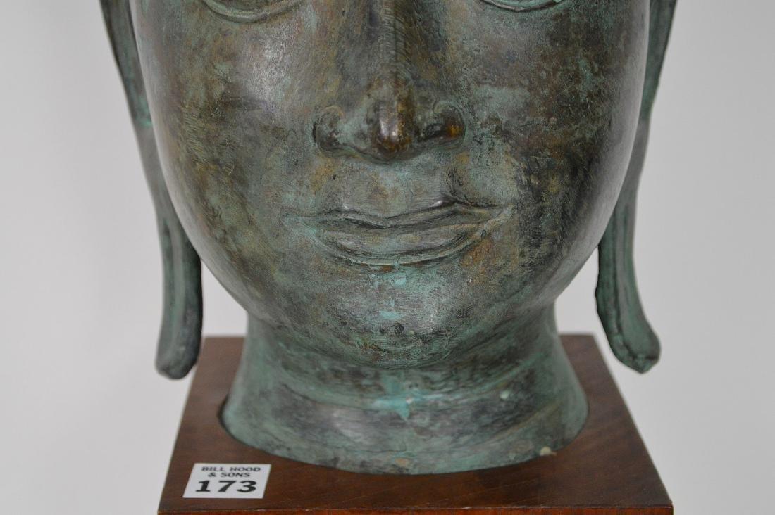 """Verdigris Metal Asian Mask Mounted on Wooden Base; 17""""H - 4"""