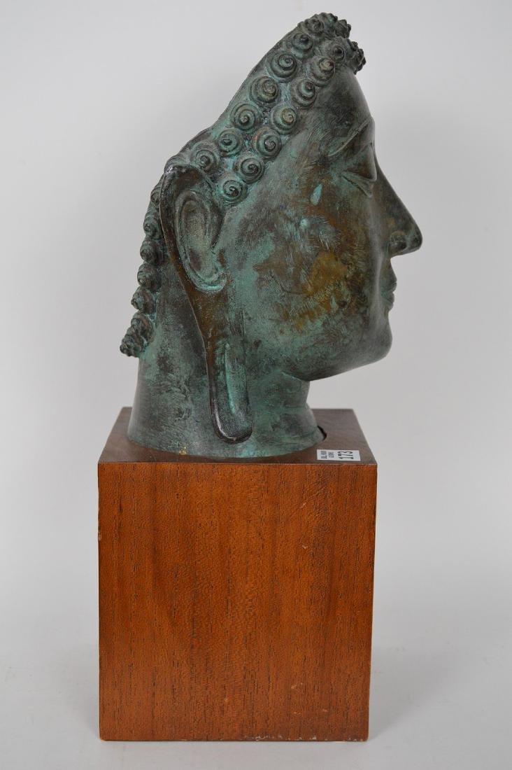 """Verdigris Metal Asian Mask Mounted on Wooden Base; 17""""H - 5"""
