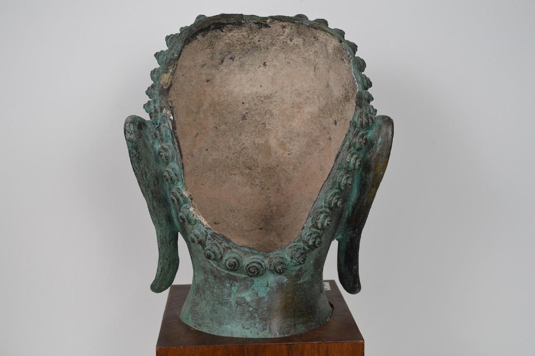 """Verdigris Metal Asian Mask Mounted on Wooden Base; 17""""H - 6"""