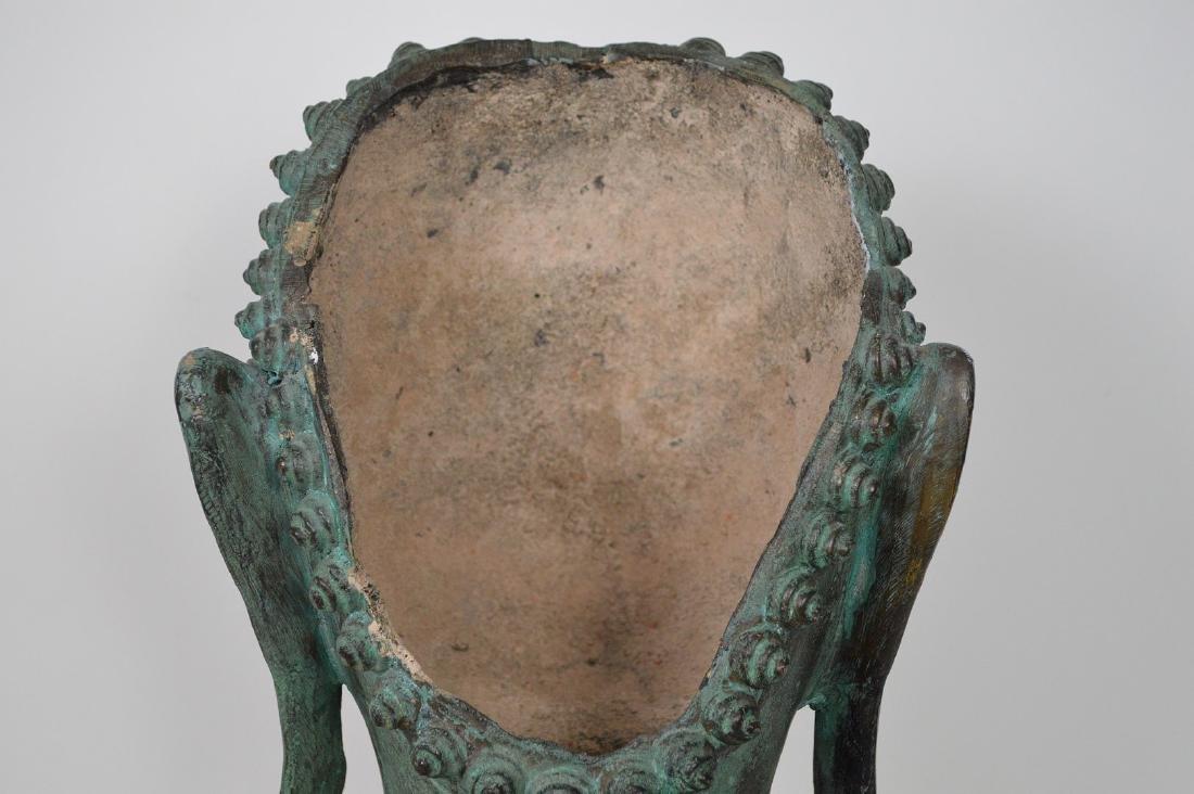 """Verdigris Metal Asian Mask Mounted on Wooden Base; 17""""H - 7"""