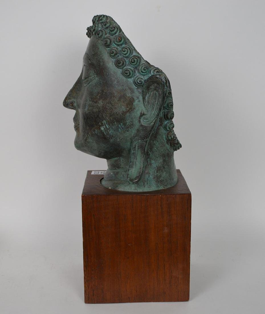 """Verdigris Metal Asian Mask Mounted on Wooden Base; 17""""H - 8"""