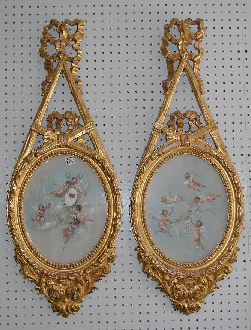 Pair giltwood French style decorative wall plaques with