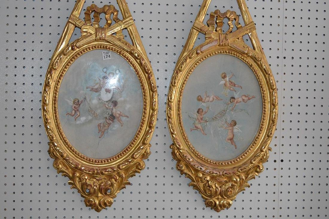 Pair giltwood French style decorative wall plaques with - 2