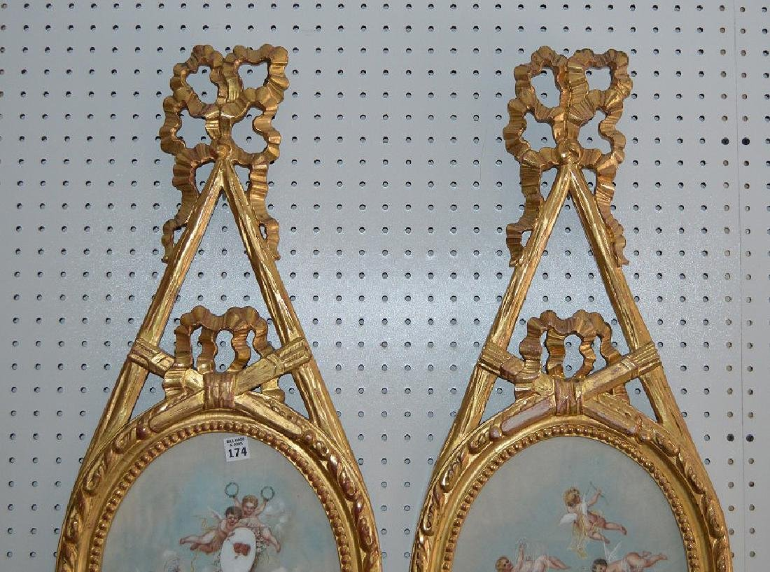 Pair giltwood French style decorative wall plaques with - 3