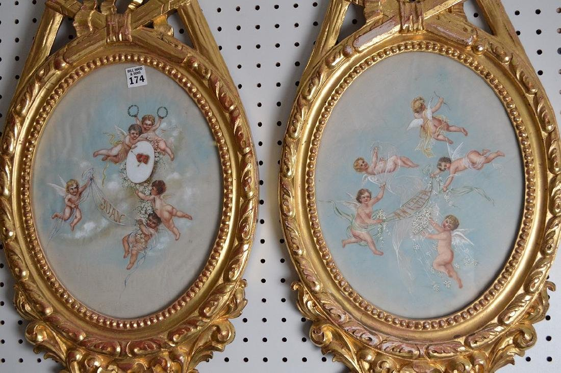 Pair giltwood French style decorative wall plaques with - 4