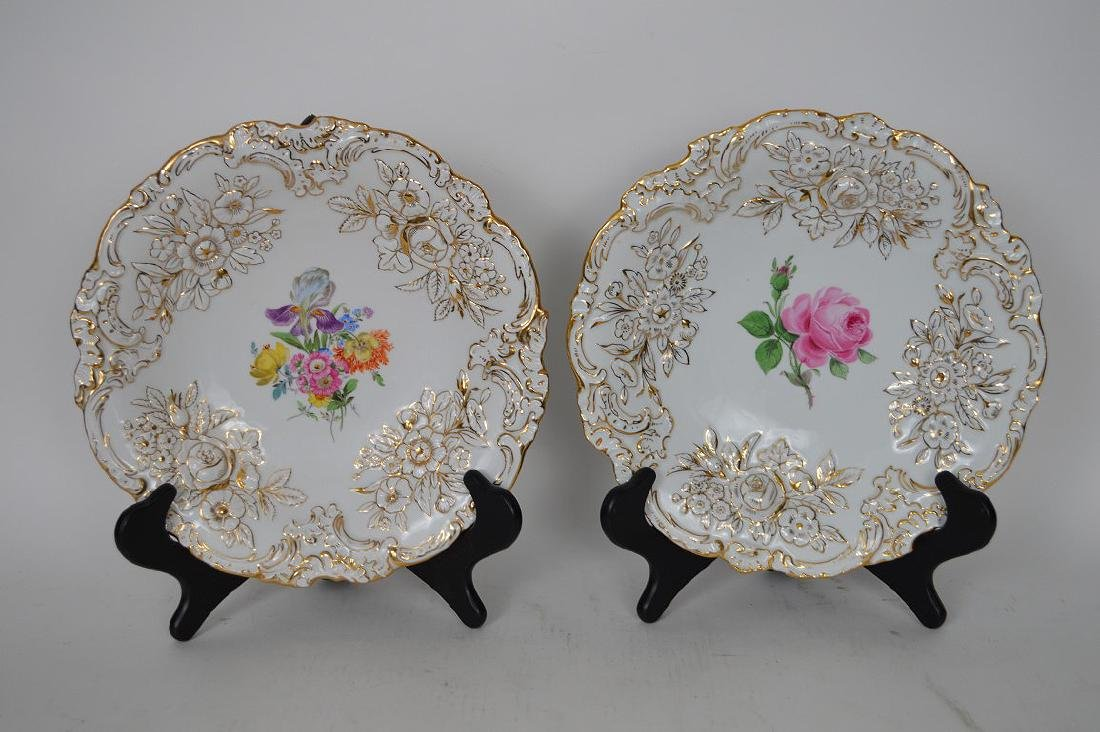 Pair Meissen Porcelain Plates.  Condition: good with no