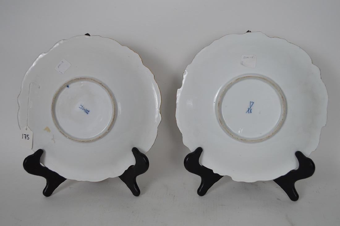 Pair Meissen Porcelain Plates.  Condition: good with no - 4